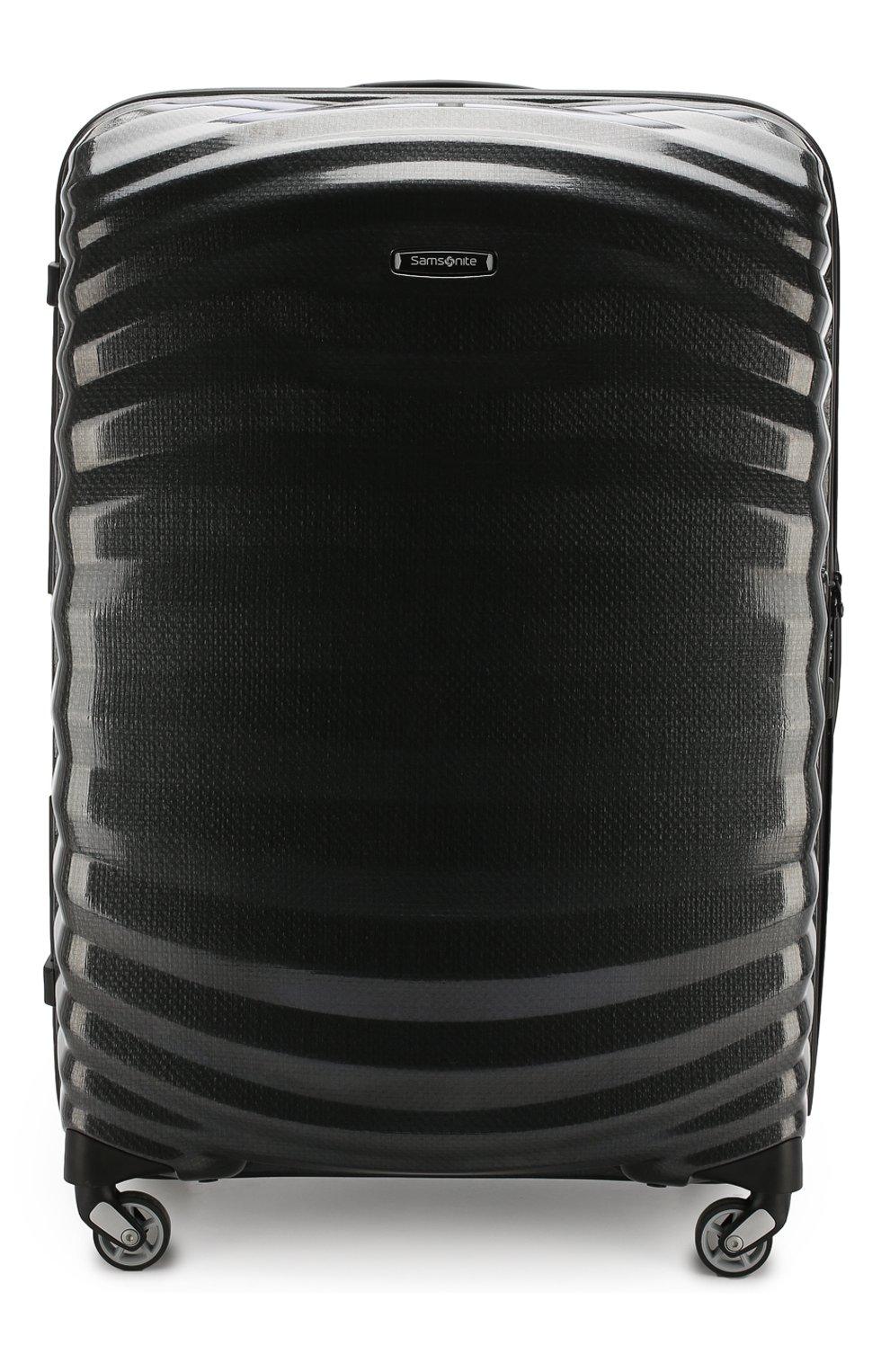 Женский дорожный чемодан lite-shock large SAMSONITE черного цвета, арт. 98V-09003 | Фото 1 (Статус проверки: Проверено, Проверена категория; Ограничения доставки: oversized; Размер: large)