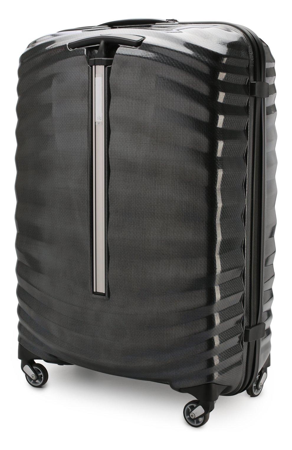 Женский дорожный чемодан lite-shock large SAMSONITE черного цвета, арт. 98V-09003 | Фото 2 (Статус проверки: Проверено, Проверена категория; Ограничения доставки: oversized; Размер: large)