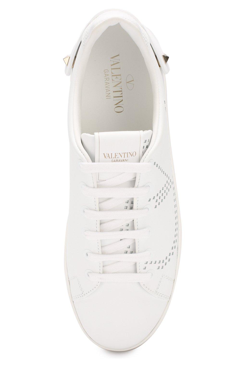 Кожаные кеды Valentino Garavani Go Logo Valentino белые | Фото №5