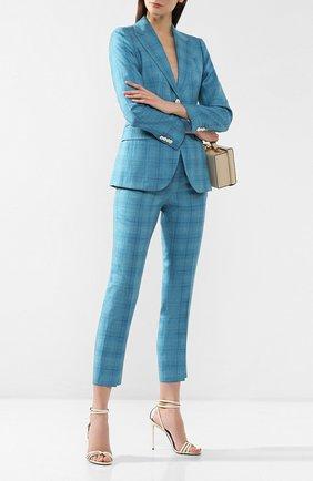 Женские брюки в клетку KITON бирюзового цвета, арт. D38103K06R08 | Фото 2