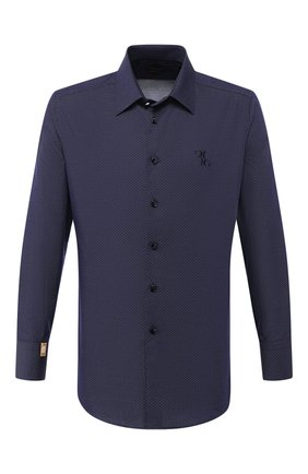 Мужская хлопковая рубашка  BILLIONAIRE темно-синего цвета, арт. B19C MRP0765 BTE004N | Фото 1
