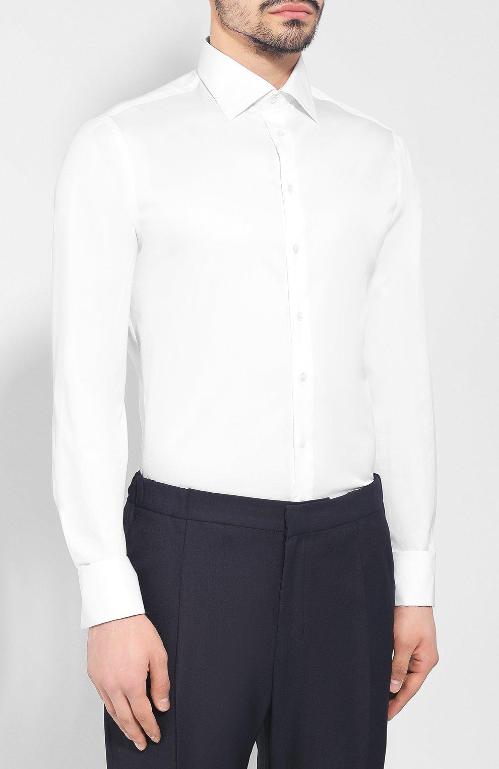 39fdd17cfe7 Мужская белая хлопковая рубашка GIORGIO ARMANI — купить за 43250 руб ...