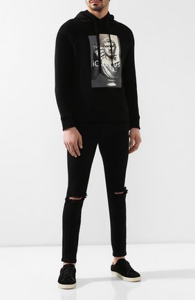 Мужские джинсы RH45 черного цвета, арт. 26HP70S | Фото 2 (Длина (брюки, джинсы): Стандартные; Материал внешний: Хлопок; Силуэт М (брюки): Узкие)