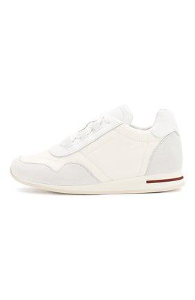 Детские кроссовки на шнуровке LORO PIANA белого цвета, арт. FAF8895 | Фото 2