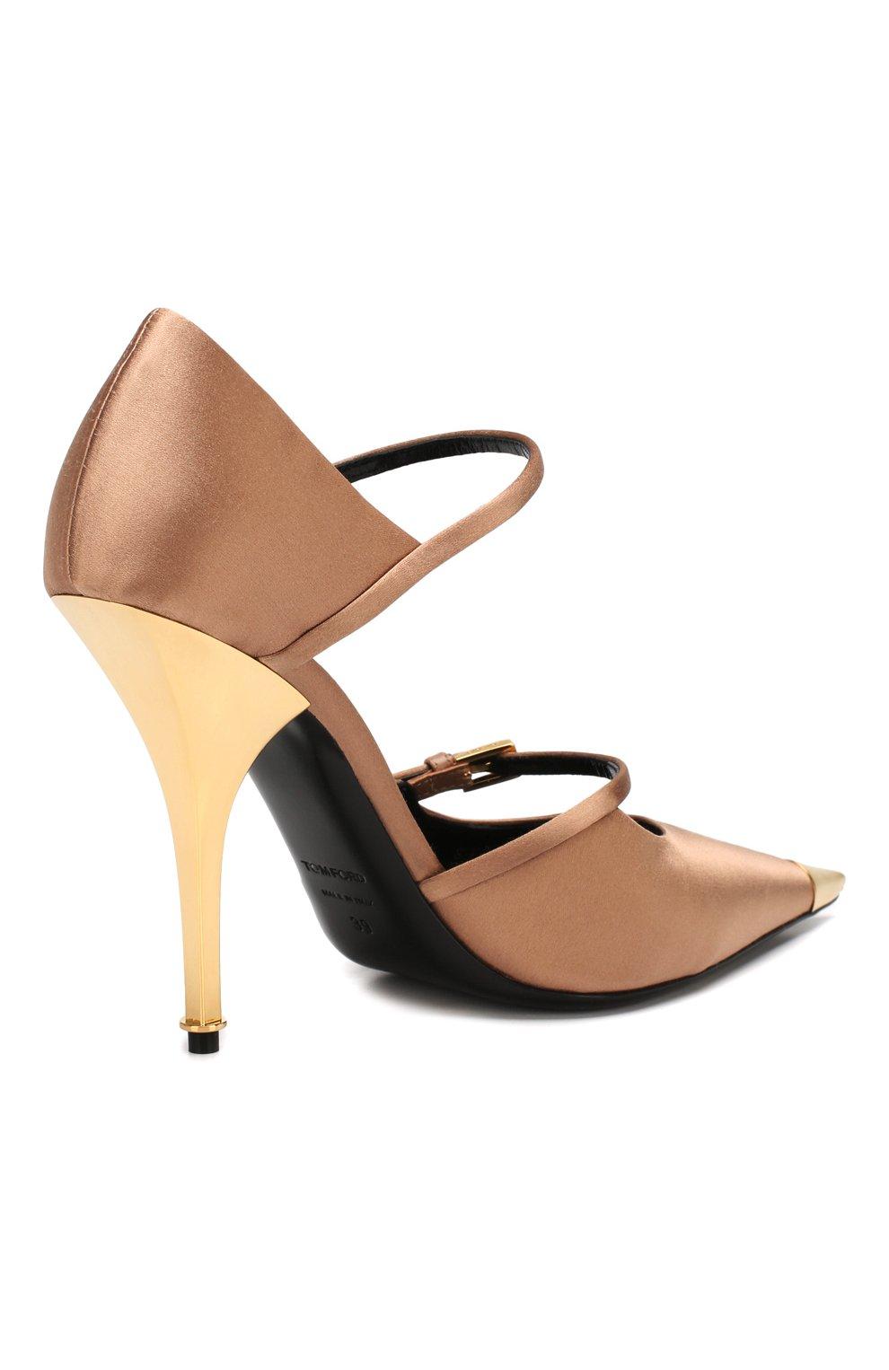 Текстильные туфли Mary Jane Tom Ford бежевые   Фото №4
