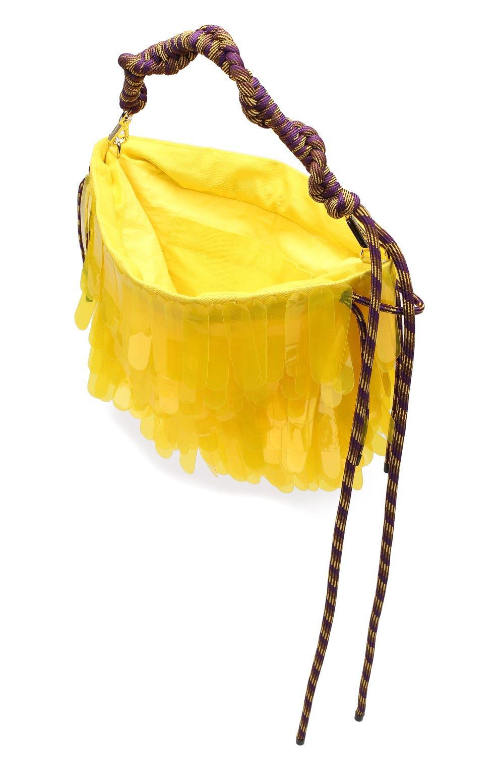 Женская текстильная сумка DRIES VAN NOTEN желтого цвета, арт. 191-11517-187 | Фото 4