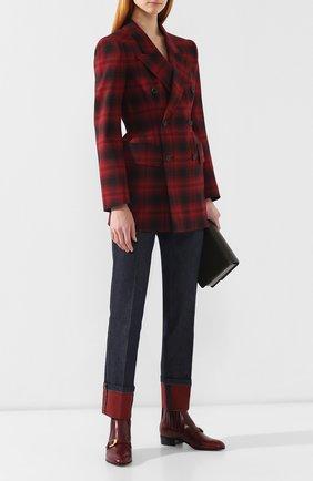 Женские кожаные ботинки GUCCI бордового цвета, арт. 572992/06F00 | Фото 2