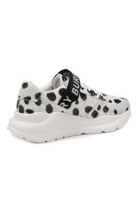 Кожаные кроссовки Burberry белые | Фото №4