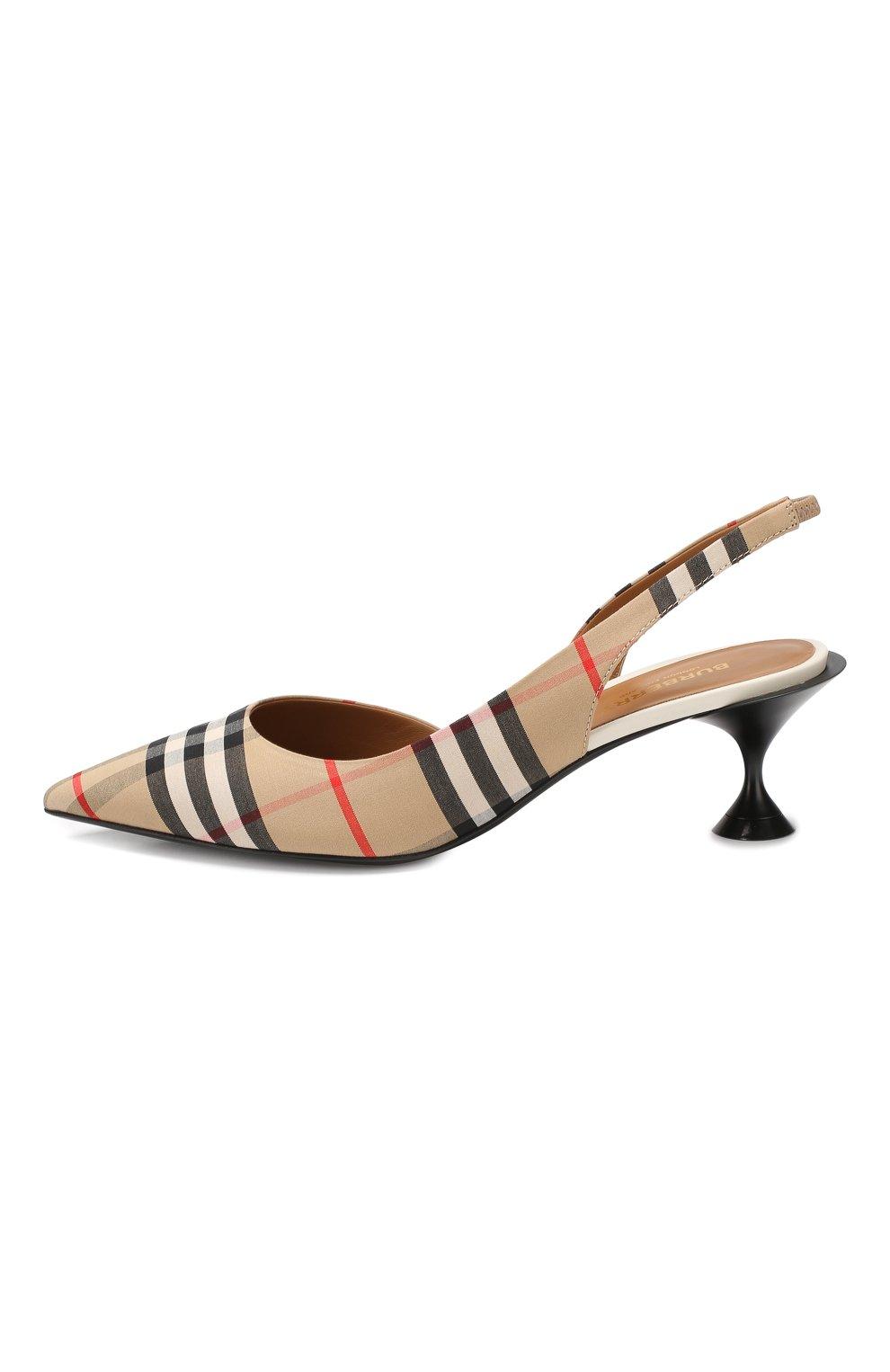 Текстильные туфли Burberry бежевые | Фото №3