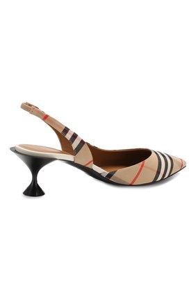 Текстильные туфли Burberry бежевые | Фото №4
