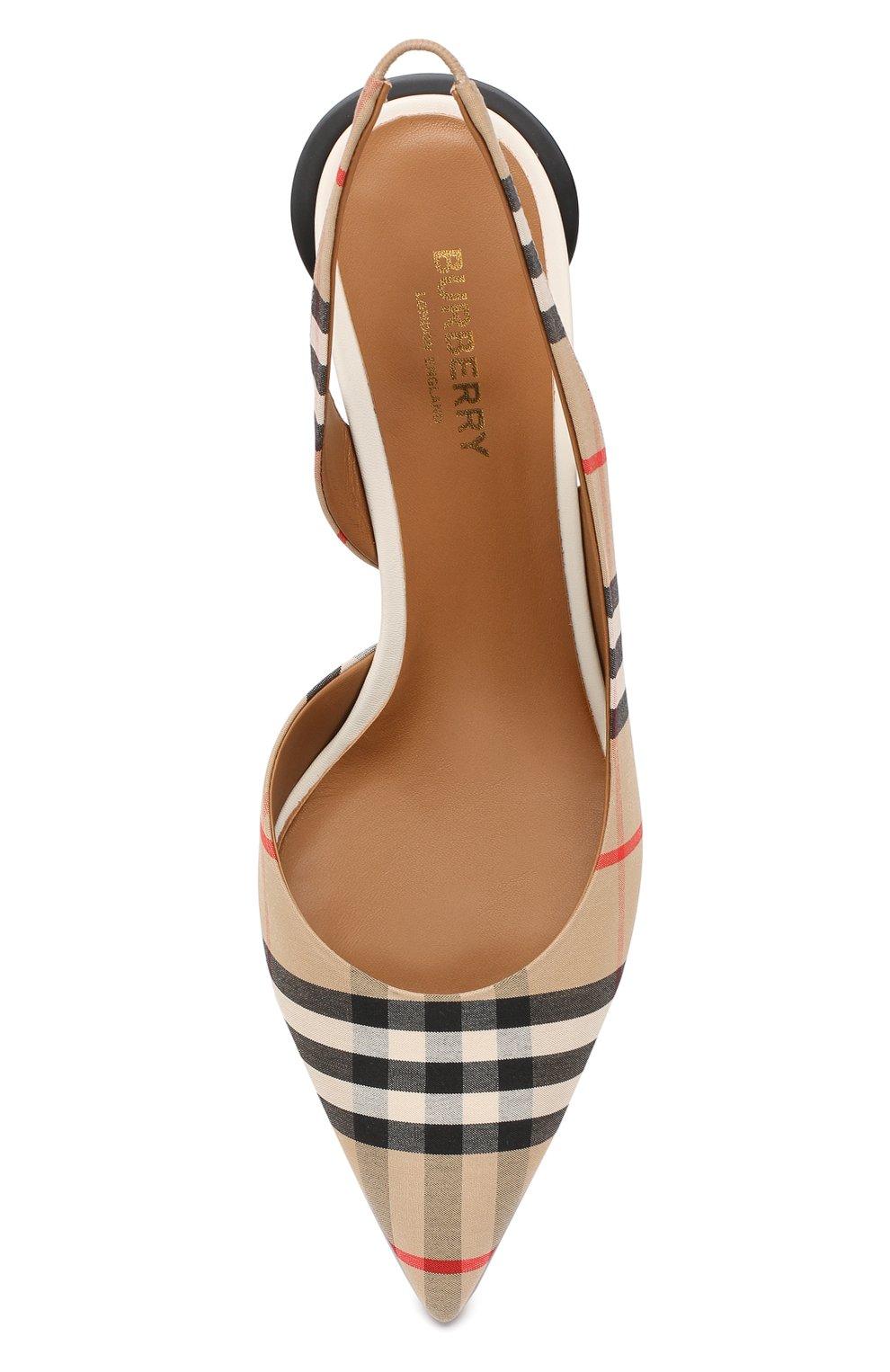 Текстильные туфли Burberry бежевые | Фото №5