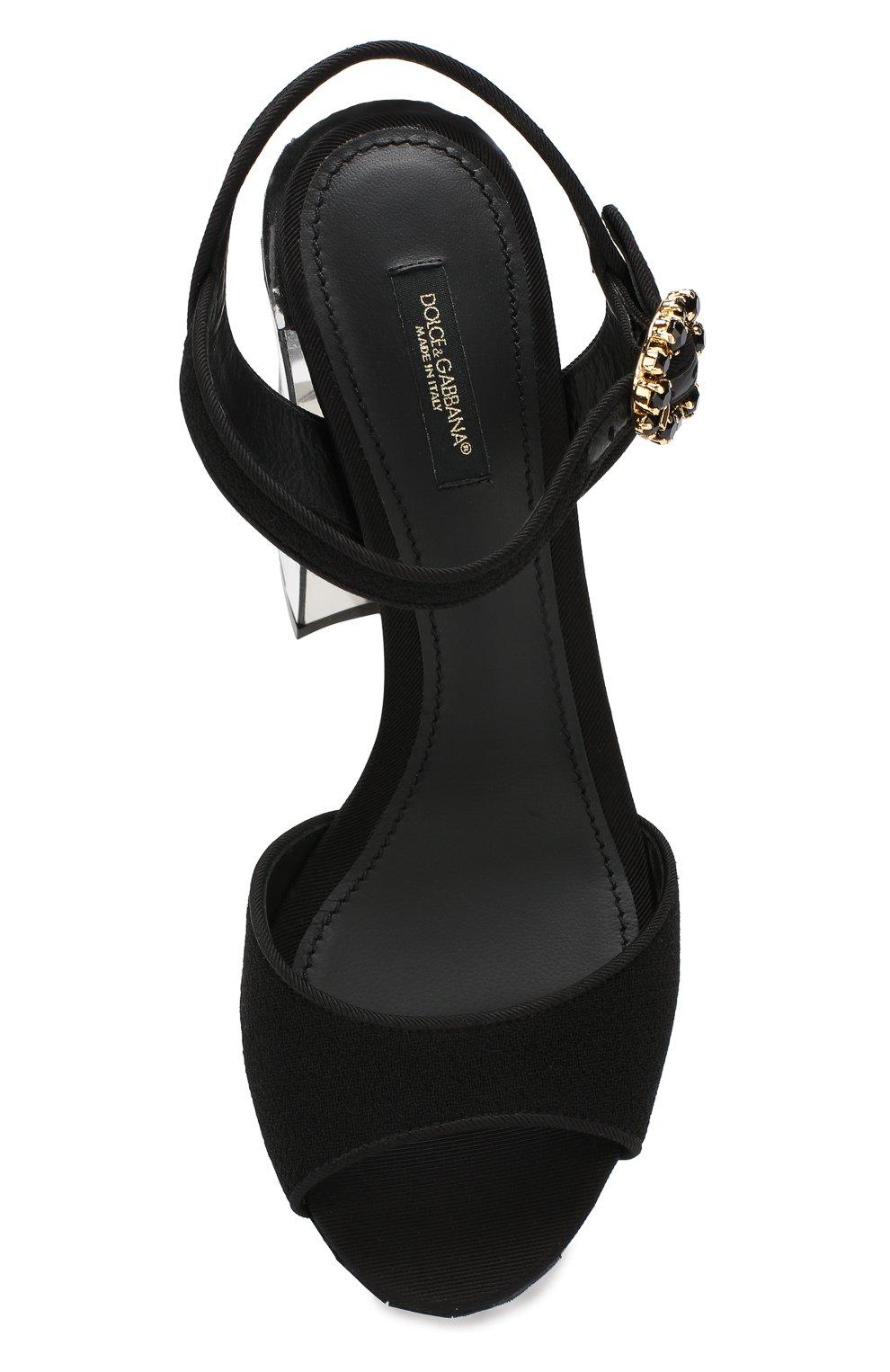 Текстильные босоножки Keira Dolce & Gabbana черные | Фото №5