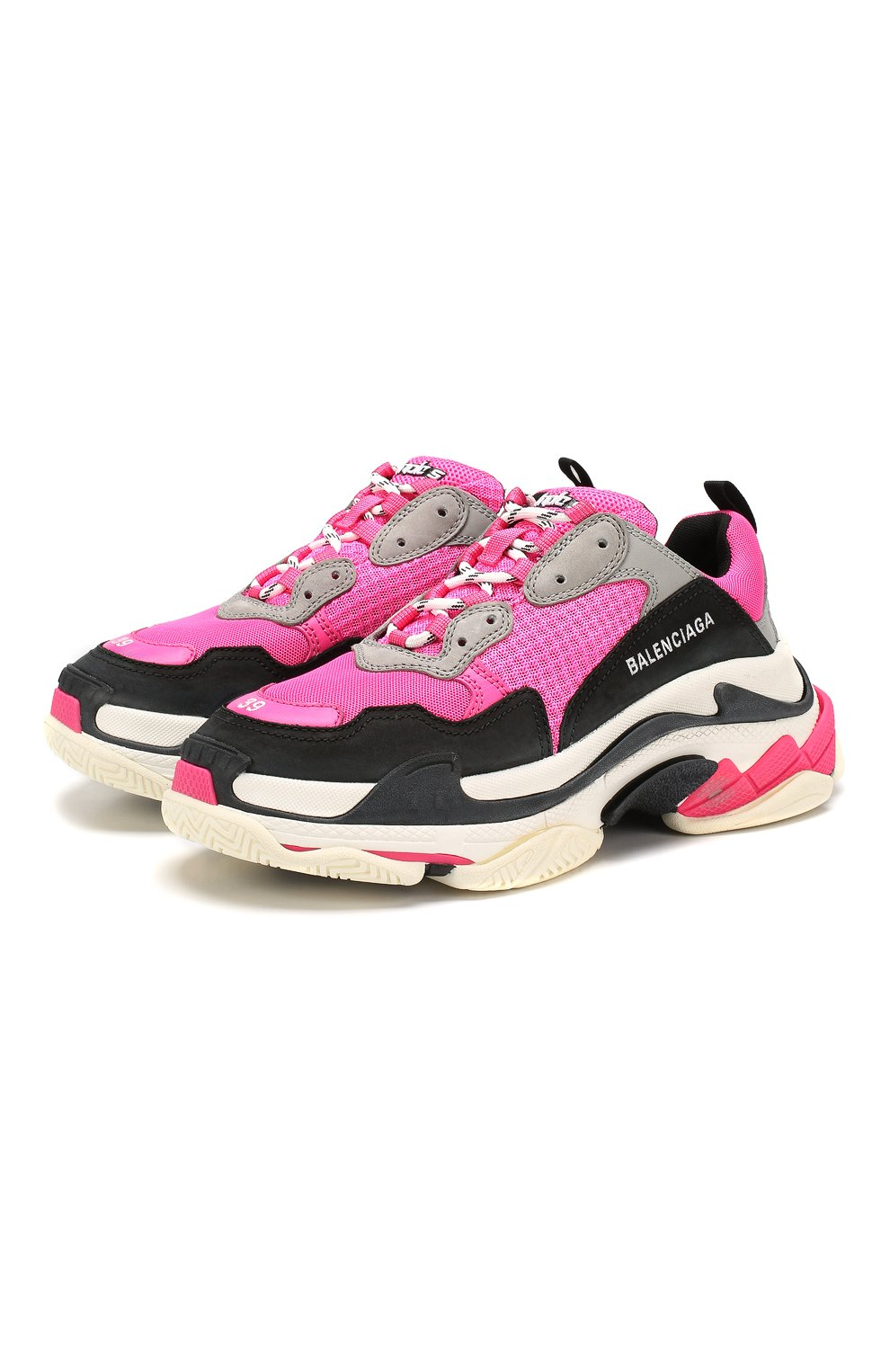 Женские комбинированные кроссовки triple s BALENCIAGA розового цвета, арт. 524039/W090H | Фото 1