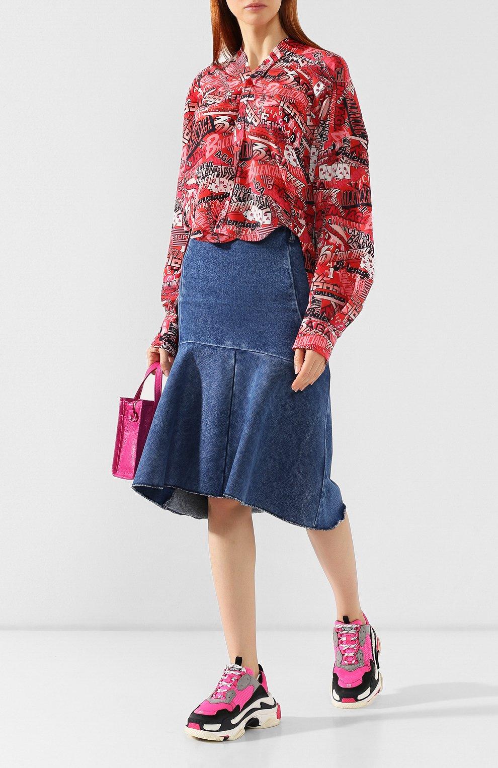 Женские комбинированные кроссовки triple s BALENCIAGA розового цвета, арт. 524039/W090H | Фото 2