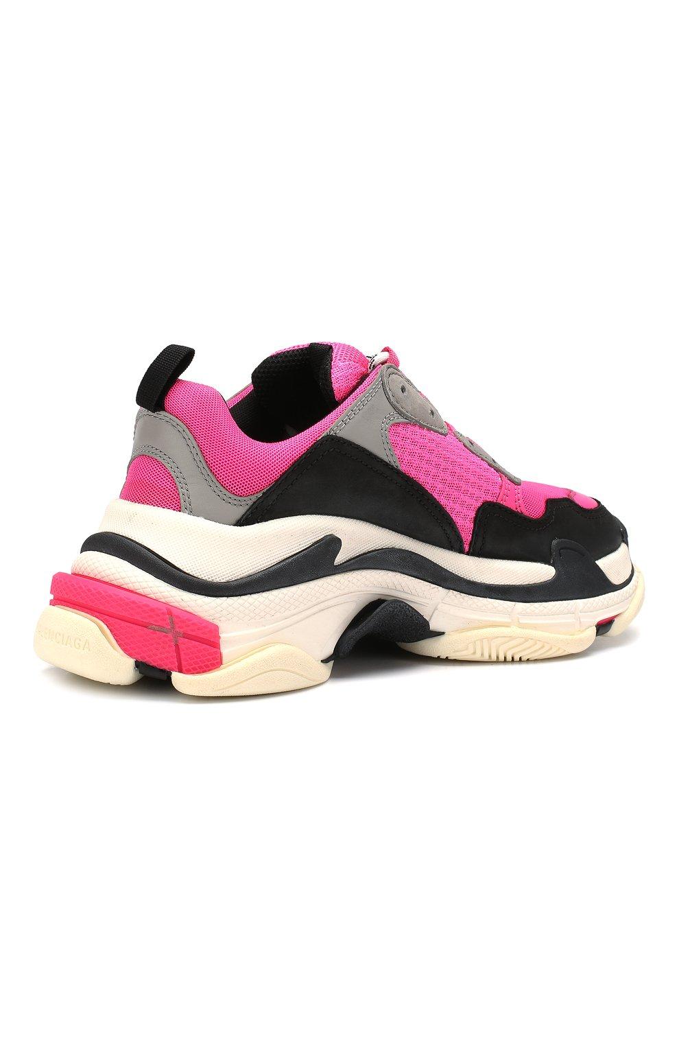 Женские комбинированные кроссовки triple s BALENCIAGA розового цвета, арт. 524039/W090H | Фото 4