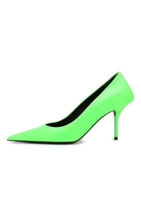 Кожаные туфли Square Knife Balenciaga зеленые | Фото №3