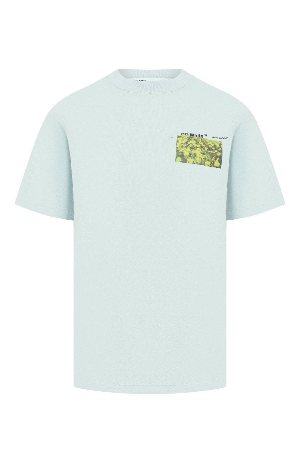 b5703f933474b Женская голубая хлопковая футболка OFF-WHITE — купить за 21250 руб ...