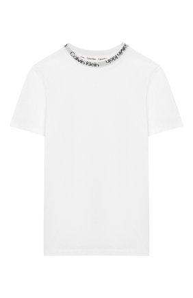 Детская хлопковая футболка CALVIN KLEIN белого цвета, арт. KK0KK00024 | Фото 1