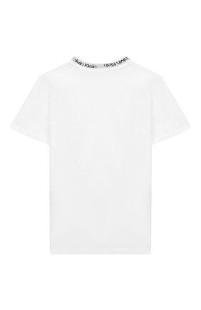 Детская хлопковая футболка CALVIN KLEIN белого цвета, арт. KK0KK00024 | Фото 2