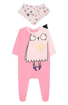 Детский комплект из пижамы и нагрудника MARC JACOBS (THE) розового цвета, арт. W98124 | Фото 1