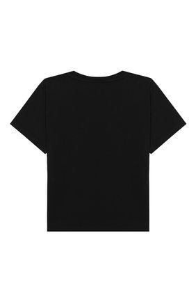 Детская хлопковая футболка BALENCIAGA черного цвета, арт. 556155/TEV85 | Фото 2