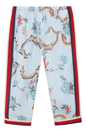 Детские хлопковые брюки GUCCI голубого цвета, арт. 552689/XWAC6 | Фото 1
