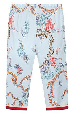 Детские хлопковые брюки GUCCI голубого цвета, арт. 552689/XWAC6 | Фото 2