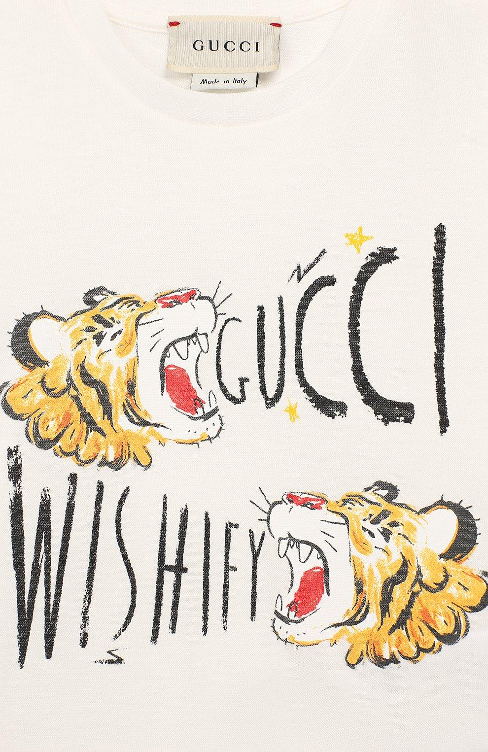 Детский хлопковая футболка GUCCI белого цвета, арт. 548034/XJAJF | Фото 3