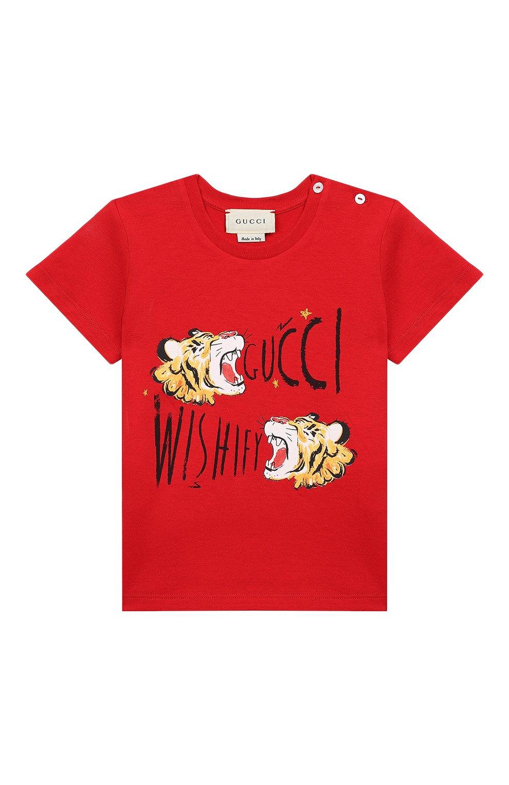 Детский хлопковая футболка GUCCI красного цвета, арт. 548034/XJAJF | Фото 1