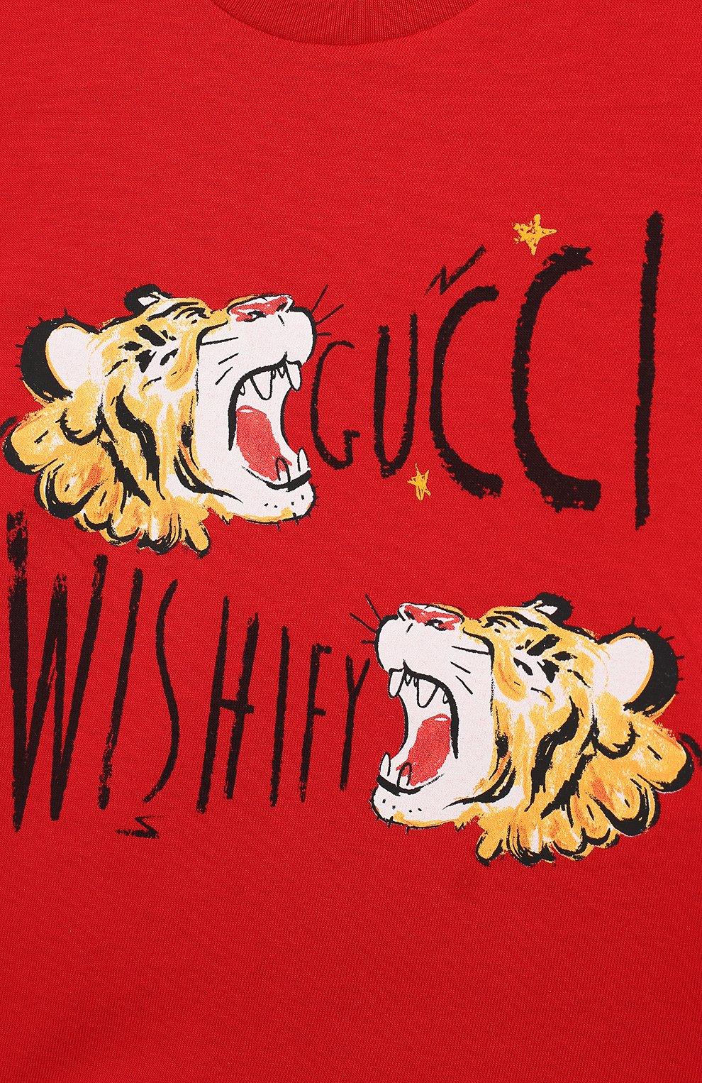 Детский хлопковая футболка GUCCI красного цвета, арт. 548034/XJAJF | Фото 3