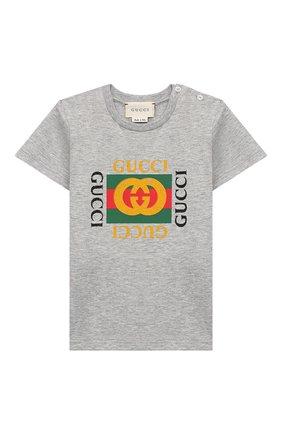 Детский хлопковая футболка GUCCI серого цвета, арт. 497845/X3L91 | Фото 1