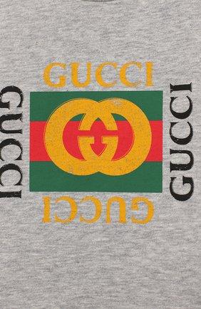 Детский хлопковая футболка GUCCI серого цвета, арт. 497845/X3L91 | Фото 3