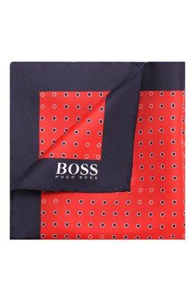 Мужской шелковый платок BOSS красного цвета, арт. 50412281 | Фото 1