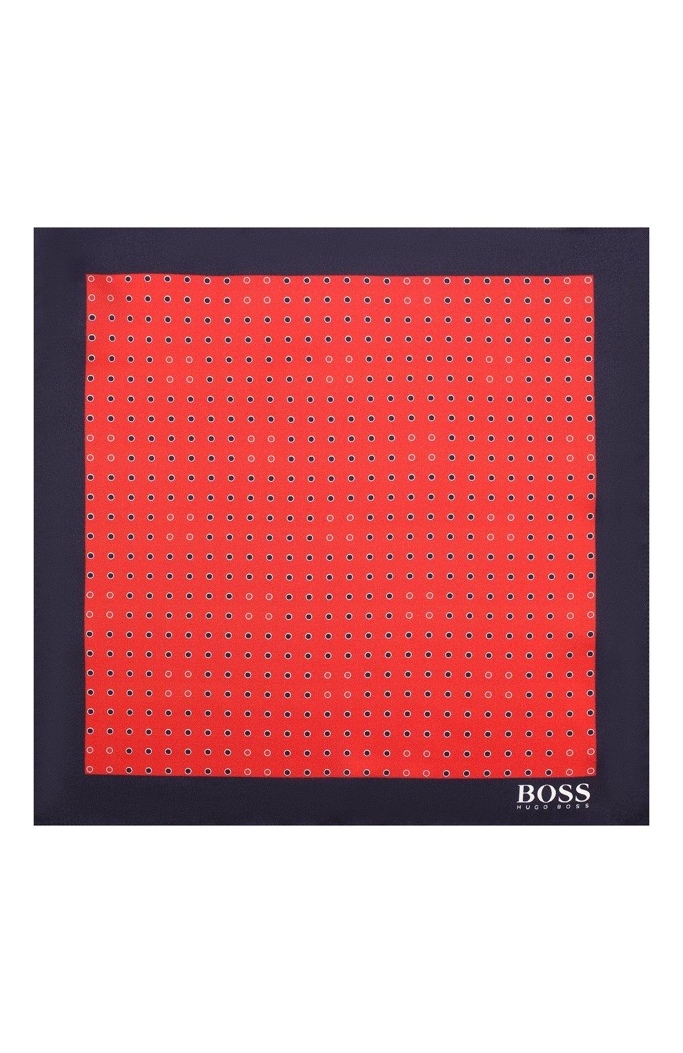 Мужской шелковый платок BOSS красного цвета, арт. 50412281 | Фото 3