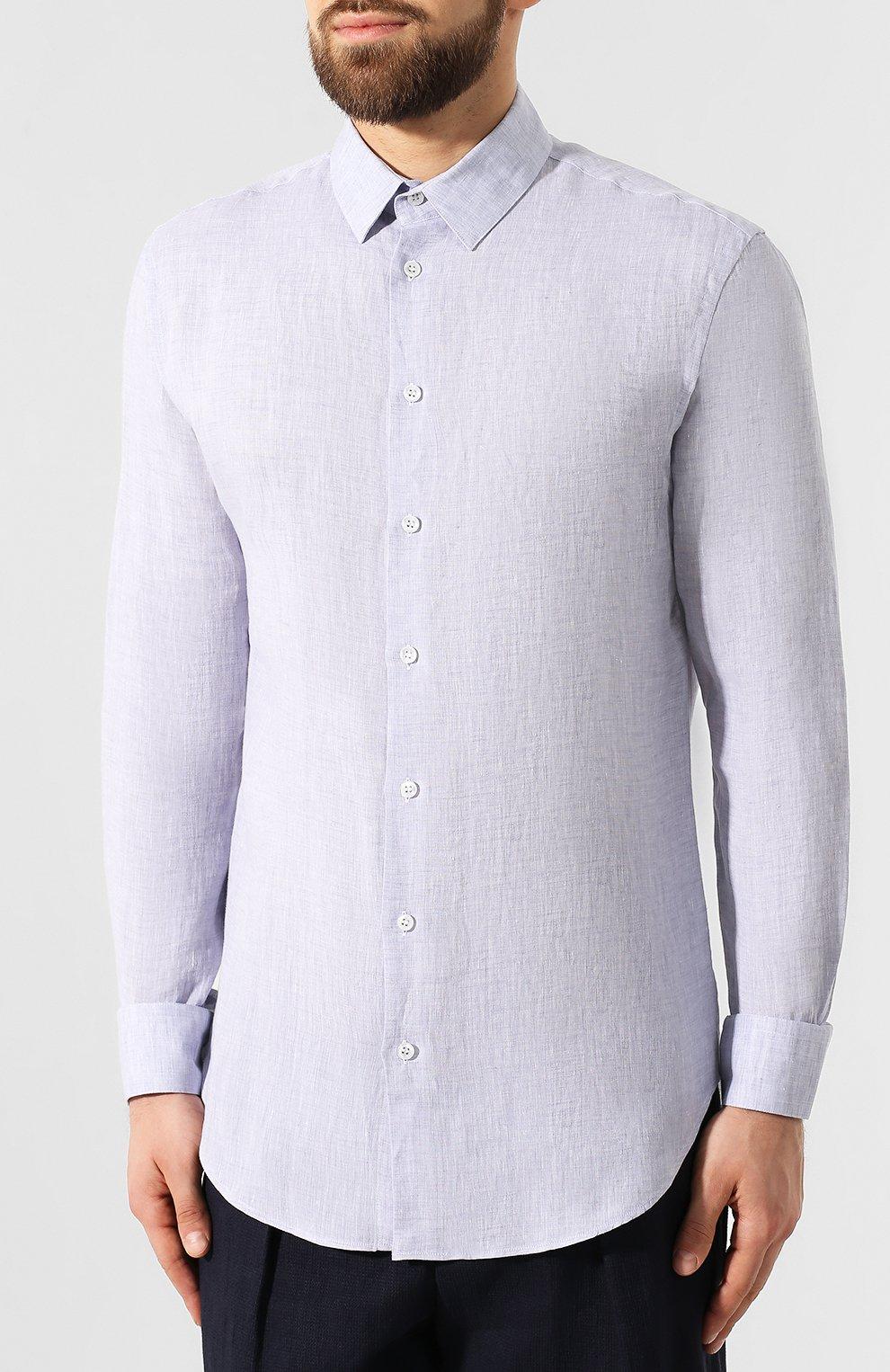 Мужская льняная рубашка GIORGIO ARMANI фиолетового цвета, арт. 8WGCCZ97/TZ243 | Фото 3