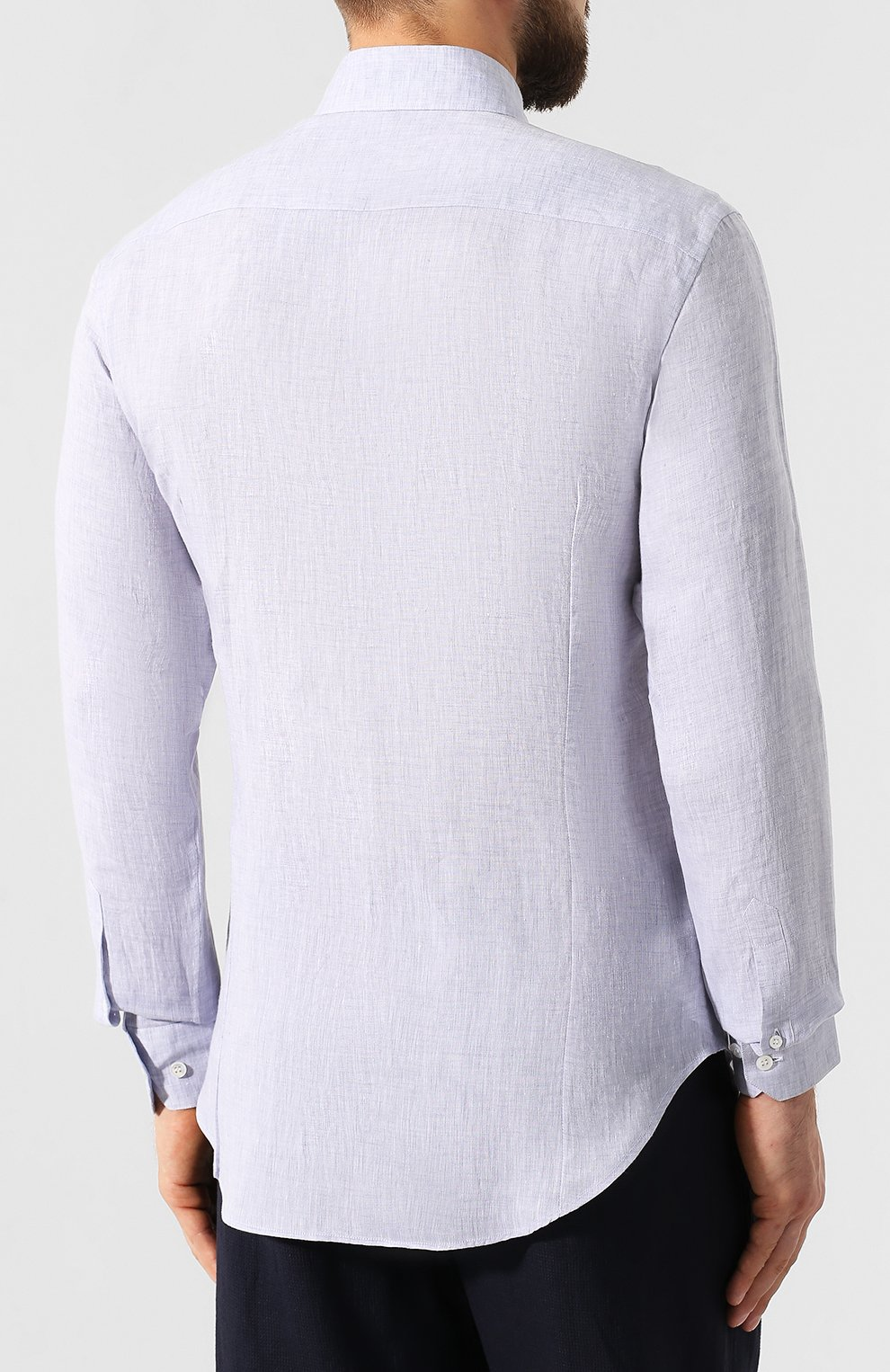 Мужская льняная рубашка GIORGIO ARMANI фиолетового цвета, арт. 8WGCCZ97/TZ243 | Фото 4