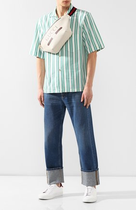Кожаная поясная сумка Gucci Print   Фото №2