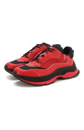 Мужские комбинированные кроссовки BERLUTI красного цвета, арт. S4781-003 | Фото 1