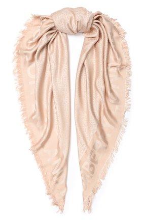 Женский платок из смеси шелка и шерсти BURBERRY розового цвета, арт. 8010113 | Фото 1