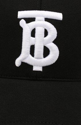 Хлопковая бейсболка Burberry черного цвета | Фото №3