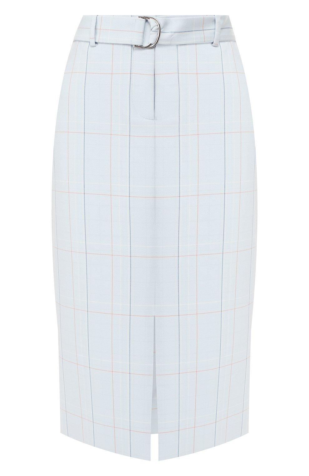 Женская юбка в клетку BOSS голубого цвета, арт. 50404795 | Фото 1