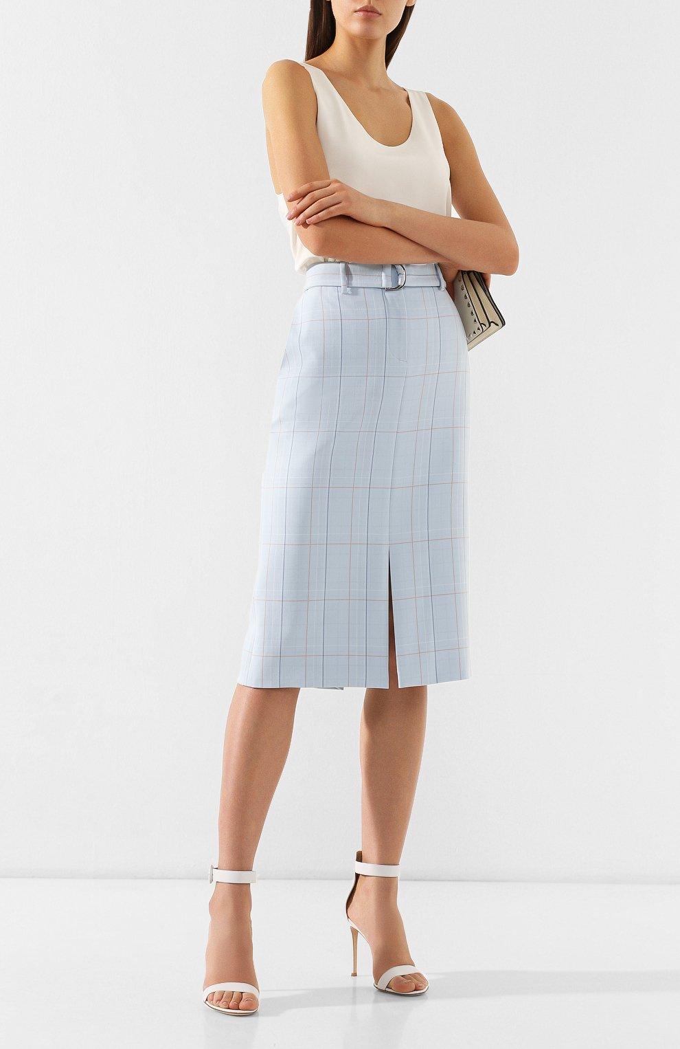 Женская юбка в клетку BOSS голубого цвета, арт. 50404795 | Фото 2