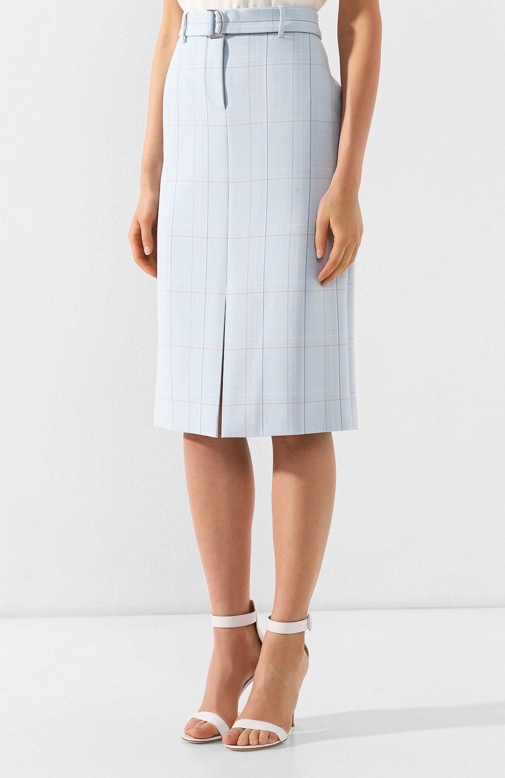 Женская юбка в клетку BOSS голубого цвета, арт. 50404795 | Фото 3
