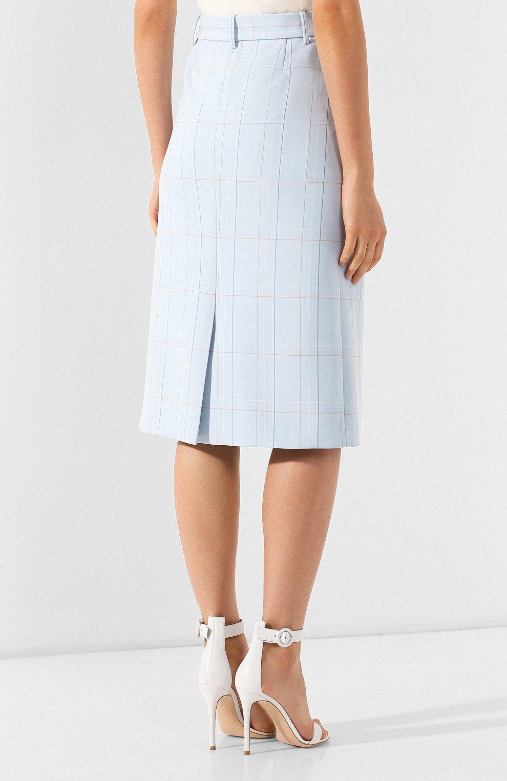 Женская юбка в клетку BOSS голубого цвета, арт. 50404795 | Фото 4