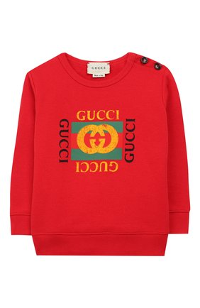 Детский хлопковый свитшот GUCCI красного цвета, арт. 483878/X3G97 | Фото 1
