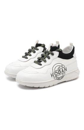 Детские кожаные кроссовки HOGAN белого цвета, арт. HXT3710BN20JGH | Фото 1