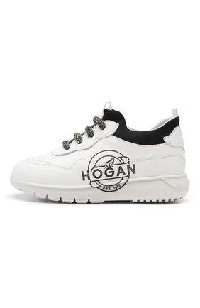 Детские кожаные кроссовки HOGAN белого цвета, арт. HXT3710BN20JGH | Фото 2