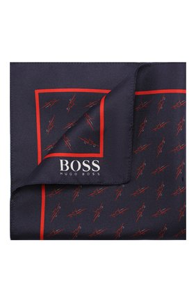 Мужской шелковый платок BOSS темно-синего цвета, арт. 50412281 | Фото 1