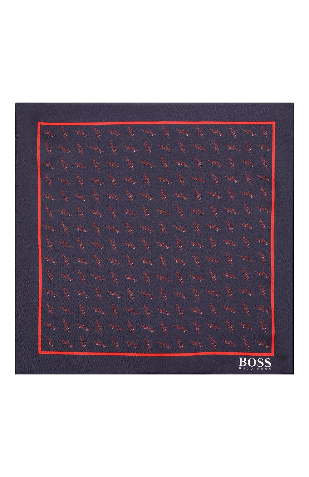 Мужской шелковый платок BOSS темно-синего цвета, арт. 50412281 | Фото 3