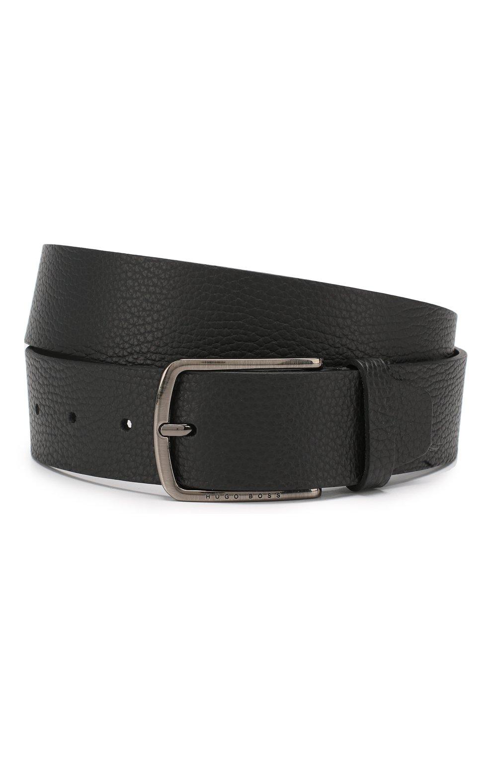 Мужской кожаный ремень BOSS черного цвета, арт. 50413064 | Фото 1
